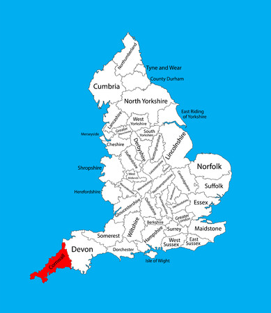 Vector map of Cornwall in South West England, United Kingdom with regions. England vector map.