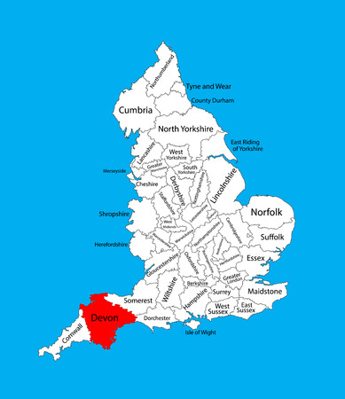 Vector map of Devon in South West England, United Kingdom with regions. England vector map.
