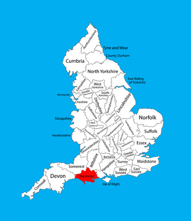 Vector map of Dorset in South West England, United Kingdom with regions. England vector map.