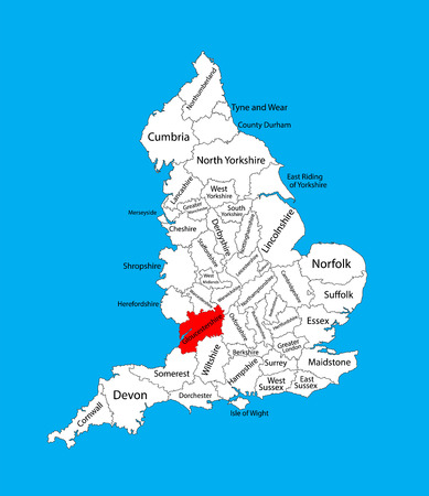 Vector map of Gloucestershire in South West England, United Kingdom with regions. England vector map.