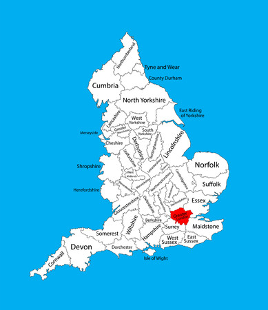 Vector map of Greater London in United Kingdom with regions. England vector map.