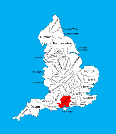 Vector map of Hampshire, South East England, United Kingdom with regions. England vector map.
