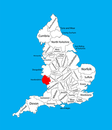Vector map of Herefordshire in West Midlands, United Kingdom with regions. England vector map.