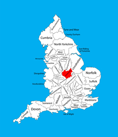 Vector map of Leicestershire in East Midlands, United Kingdom with regions. England vector map.