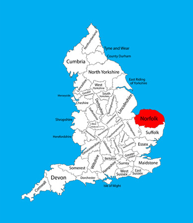 Vector map of Norfolk in East of England, United Kingdom with regions. England vector map.