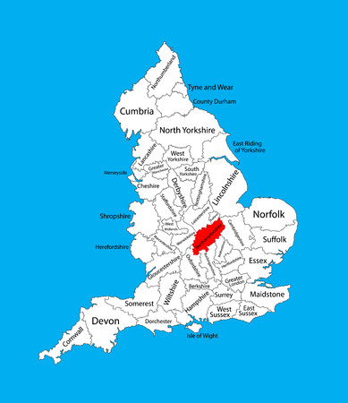 Vector map of Northamptonshire in East Midlands, United Kingdom with regions. England vector map.