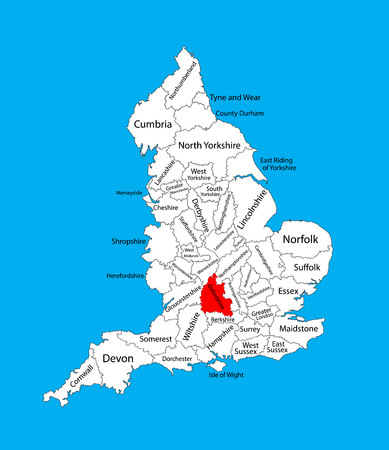 Vector map of Oxfordshire, South East England, United Kingdom. England vector map.