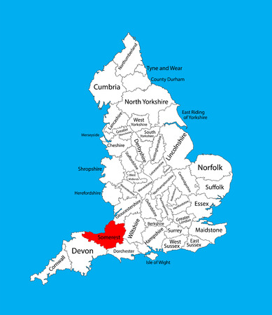scilly: Vector map of Somerset in South West England, United Kingdom with regions. England vector map. Illustration