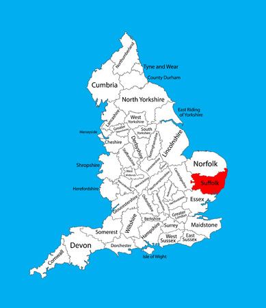 Vector map of Suffolk in East of England, United Kingdom with regions. England vector map.