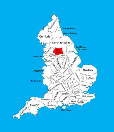 Vector map of West Yorkshire in Yorkshire and the Humber, United Kingdom with regions. England vector map.