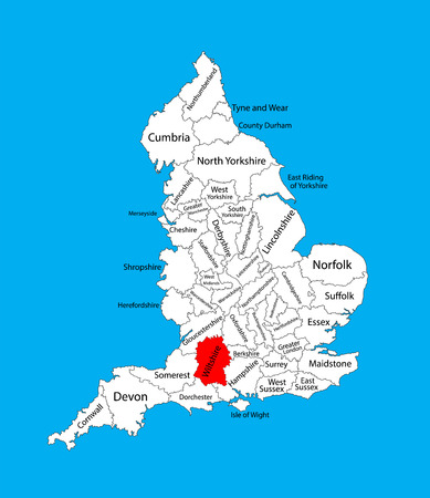 bristol: Vector map of Wiltshire in South West England, United Kingdom with regions. England vector map. Illustration