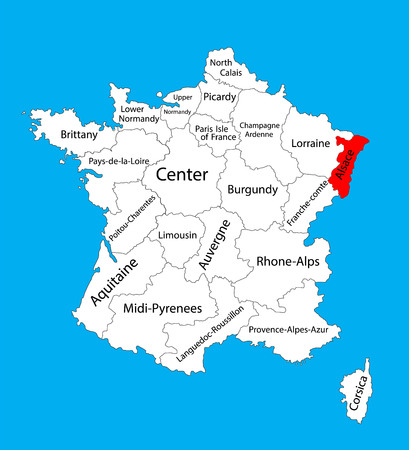 Vector map of state Alsace, France vector map. Alsace provence in France. Иллюстрация