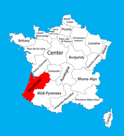Vector map of state Aquitaine, France vector map. Aquitaine provence in France.