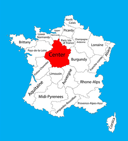 Vector map of state Centre, location on France. France vector map. Loire Valley vector map. Illustration
