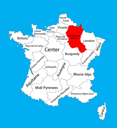 Vector map of state Champagne-Ardenne, location on France. France vector map. Illustration