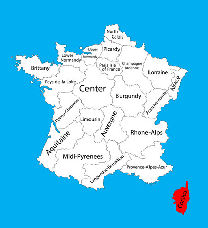 Vector map of state Corsica,location in France. France vector map.