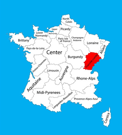Vector map of state Franche-Comte, location in France. France vector map. Illustration