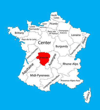 Vector map of state Limousin, location on France.France vector map.