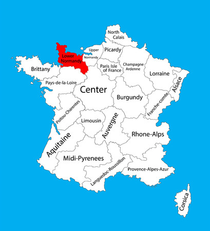 Vector map of state Lower Normandy, location on France. France vector map. Illustration
