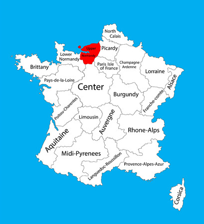 Vector map of state Upper Normandy, location on France. France vector map.