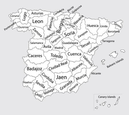 Mapa España Provincias Blanco.Mapa De Espana Provincias Blanco Y Negro Mapa