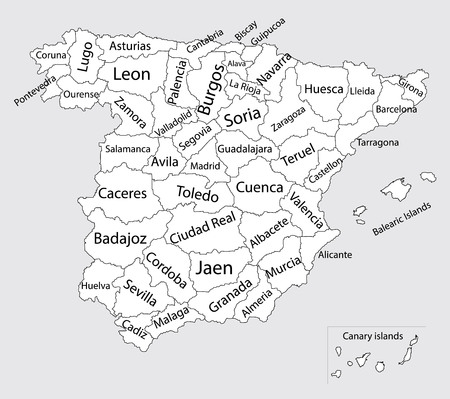 Editable blank vector map of Spain. Vector map of Spain isolated on background. High detailed. Autonomous communities of Spain. Administrative divisions of Spain, separated provinces.