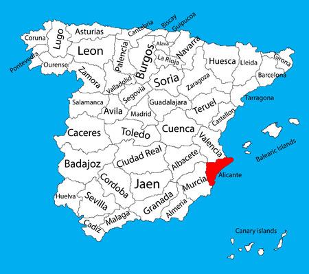 Carte d'Alicante, Espagne vector carte de vecteur. Carte vectorielle détaillée haute de l'Espagne avec des régions séparées isolées sur fond. Carte des zones d'autonomie de l'Espagne. Carte vectorielle modifiable de l'Espagne. Vecteurs