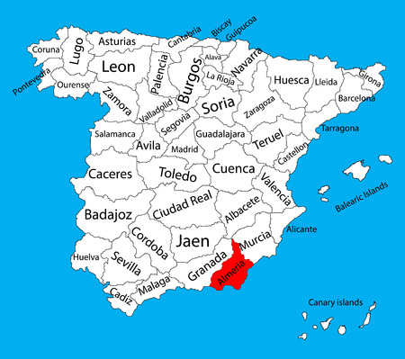 salamanca: Almeria map, Spain province vector map. High detailed vector map of Spain with separated regions isolated on background. Spain autonomy areas map. Editable vector map of Spain. Illustration