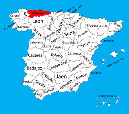 Carte des Asturies, carte vectorielle de province d'Espagne. Carte vectorielle détaillée haute de l'Espagne avec des régions séparées isolées sur fond. Carte des zones d'autonomie de l'Espagne. Carte vectorielle modifiable de l'Espagne.