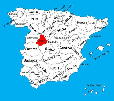 Avila carte, Espagne vector carte de vecteur. Carte vectorielle détaillée haute de l'Espagne avec des régions séparées isolées sur fond. Carte des zones d'autonomie de l'Espagne. Carte vectorielle modifiable de l'Espagne.