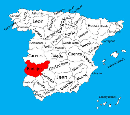 barcelona: Badajoz, Badajos map, Spain province vector map. High detailed vector map of Spain with separated regions isolated on background. Spain autonomy areas map. Editable vector map of Spain. Illustration