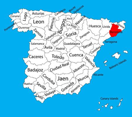 Carte de Barcelone, carte vectorielle de l'Espagne. Carte vectorielle détaillée détaillée d'Espagne avec des régions séparées isolées sur le fond. Carte des zones d'autonomie en Espagne. Carte vectorielle modifiable d'Espagne.