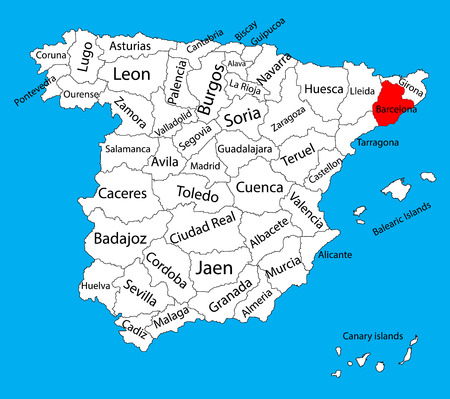 Barcelona map, Spain province vector map. High detailed vector map of Spain with separated regions isolated on background. Spain autonomy areas map. Editable vector map of Spain. Illustration
