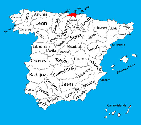 guadalajara: Biscay map, Spain province vector map. High detailed vector map of Spain with separated regions isolated on background. Spain autonomy areas map. Editable vector map of Spain.