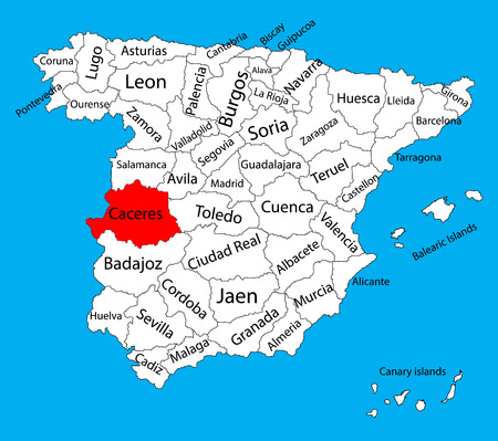 Carte de Caceres, carte vectorielle de la province d'Espagne. Carte vectorielle détaillée détaillée d'Espagne avec des régions séparées isolées sur le fond. Carte des zones d'autonomie en Espagne. Carte vectorielle modifiable d'Espagne.
