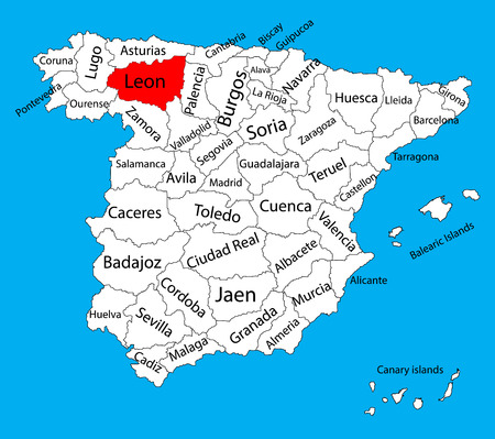 Leon map, Spain province vector map. High detailed vector map of Spain with separated regions isolated on background. Spain autonomy areas map. Editable vector map of Spain.