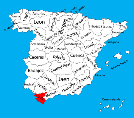 Cadiz map, Spain province vector map. High detailed vector map of Spain with separated regions isolated on background. Spain autonomy areas map. Editable vector map of Spain.