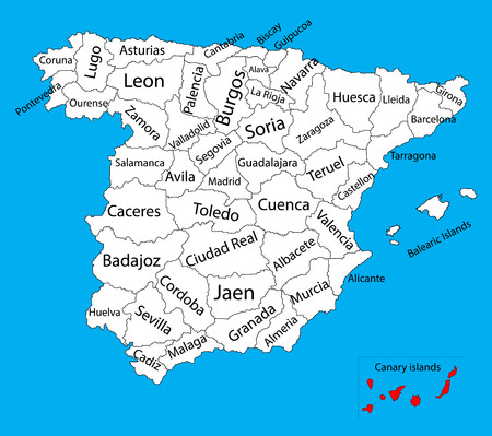 Canary Islands map, Spain province vector map. High detailed vector map of Spain with separated regions isolated on background. Spain autonomy areas map. Editable vector map of Spain. Illustration