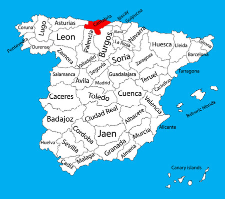 Cantabria map, Spain province vector map. High detailed vector map of Spain with separated regions isolated on background. Spain autonomy areas map. Editable vector map of Spai