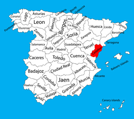 leon: Castellon map, Spain province vector map. High detailed vector map of Spain with separated regions isolated on background. Spain autonomy areas map. Editable vector map of Spain.