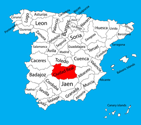 Ciudad Real map, Spain province vector map. High detailed vector map of Spain with separated regions isolated on background. Spain autonomy areas map. Editable vector map of Spain.