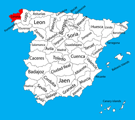 La Coruna map, Spain province vector map. High detailed vector map of Spain with separated regions isolated on background. Spain autonomy areas map. Editable vector map of Spain.