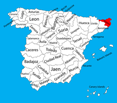 Gerona map, Spain province vector map. High detailed vector map of Spain with separated regions isolated on background. Spain autonomy areas map. Editable vector map of Spain.