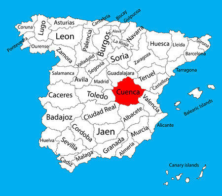 Cuenca map, Spain province vector map. High detailed vector map of Spain with separated regions isolated on background. Spain autonomy areas map. Editable vector map of Spain.