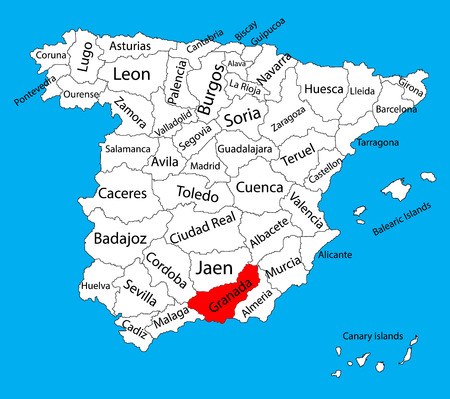 Granada map, Spain province vector map. High detailed vector map of Spain with separated regions isolated on background. Spain autonomy areas map. Editable vector map of Spain.