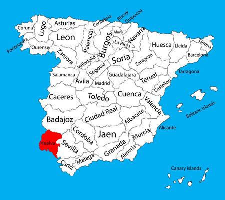 Carte de Huelva, carte vectorielle de province d'Espagne. Carte vectorielle détaillée haute de l'Espagne avec des régions séparées isolées sur fond. Carte des zones d'autonomie de l'Espagne. Carte vectorielle modifiable de l'Espagne. Vecteurs