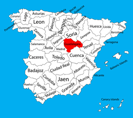Guadalajara map, Spain province vector map. High detailed vector map of Spain with separated regions isolated on background. Spain autonomy areas map. Editable vector map of Spain. Illustration