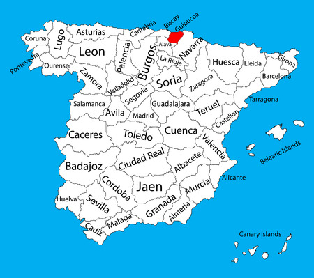 asturias: Guipouzcoa map, Spain province vector map. High detailed vector map of Spain with separated regions isolated on background. Spain autonomy areas map. Editable vector map of Spain.