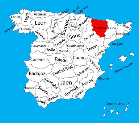 Carte de Huesca, carte vectorielle de la province d'Espagne. Carte vectorielle détaillée détaillée d'Espagne avec des régions séparées isolées sur le fond. Carte des zones d'autonomie en Espagne. Carte vectorielle modifiable d'Espagne. Vecteurs