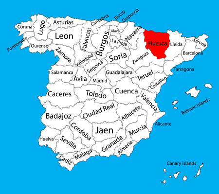 Huesca map, Spain province vector map. High detailed vector map of Spain with separated regions isolated on background. Spain autonomy areas map. Editable vector map of Spain. Illustration